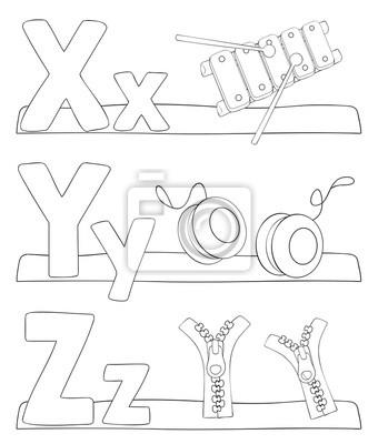Alphabet Ausmalbilder Buchstaben X Y Z Fototapete Fototapeten