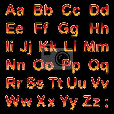 Alphabet Buchstaben auf einem schwarzen Hintergrund