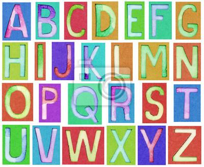 Alphabet Buchstaben aus Papier und Aquarell gemacht