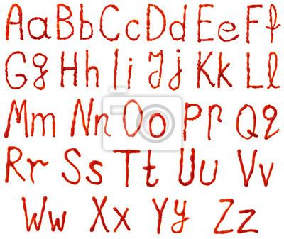 Alphabet Buchstaben aus Tomaten, Ketchup