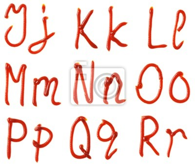 Alphabet Buchstaben aus Tomaten, Ketchup Sirup isoliert