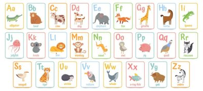 Fototapete Alphabet cards for kids. Educational preschool learning ABC card with animal and letter cartoon vector illustration set. Flashcards with cute characters and english words placed in alphabetical order.