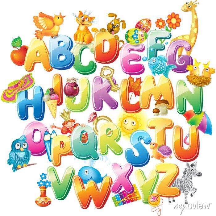 Fototapete Alphabet für Kinder mit Bildern