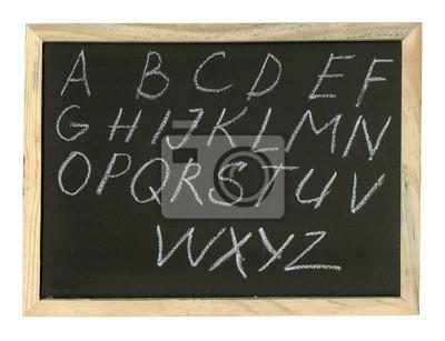 Alphabet Handschrift auf einer Tafel.