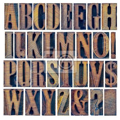 Alphabet iand Zeichensetzung in Holzart