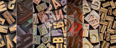 Alphabet im Jahrgang Buchdruck Holzart