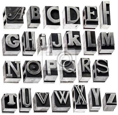 Alphabet im Vintage-Metall-Typ