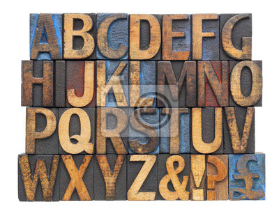 Alphabet in antiken Holz-Art