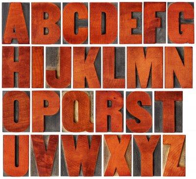 Alphabet in Buchdruck Holz-Typ gesetzt