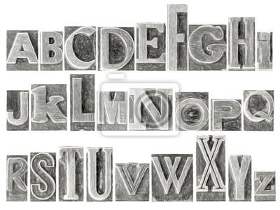 Alphabet in gemischten Metall-Typ