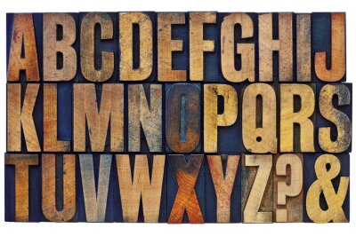 Alphabet in Letterpress Holz Typ Blöcke