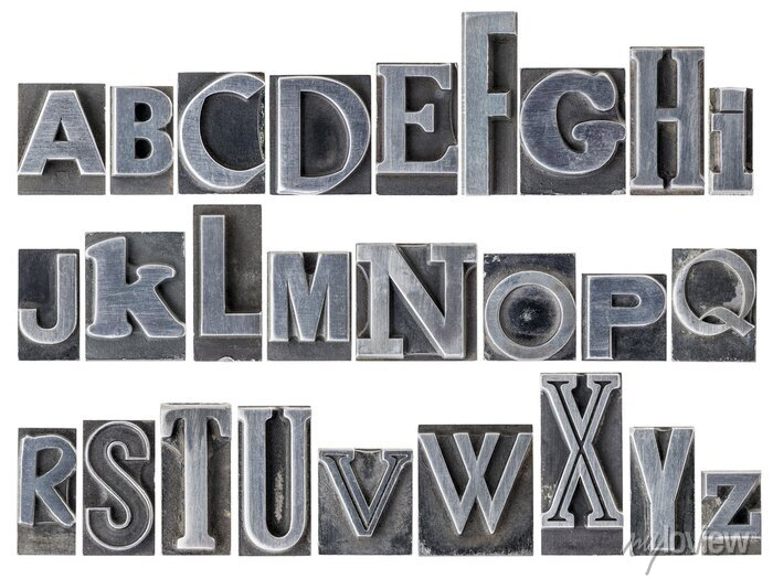 Fototapete alphabet in mixed metal type