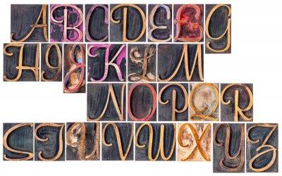 alphabet in ornamental wood type printing blocks