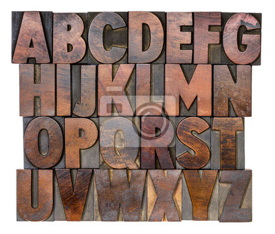 Alphabet in vintage Holz Typ