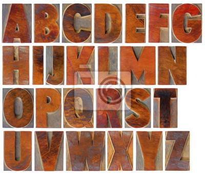 Alphabet in Vintage Holzart eingestellt