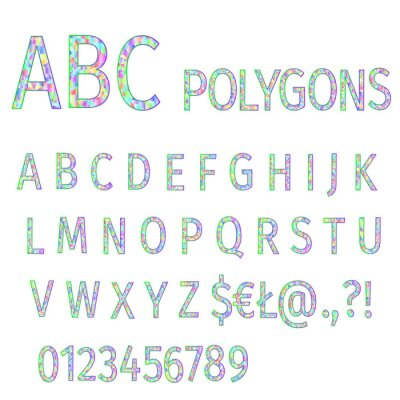 Alphabet of polygons  multi colored   mosaic font and numbers vector illustration editable hand draw