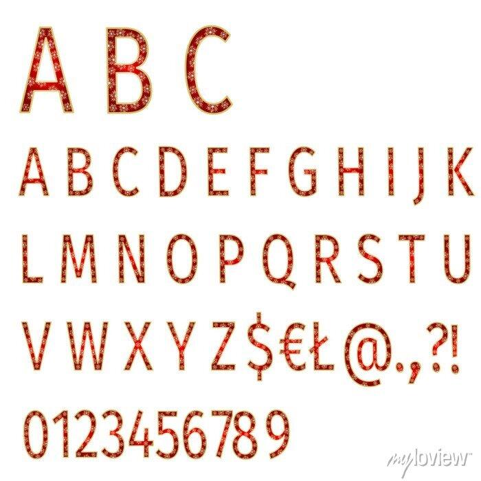 Fototapete Alphabet Schneeflocken auf rotem Hintergrund Vektor