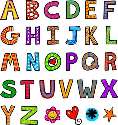 Fototapete Alphabet Text Doodle
