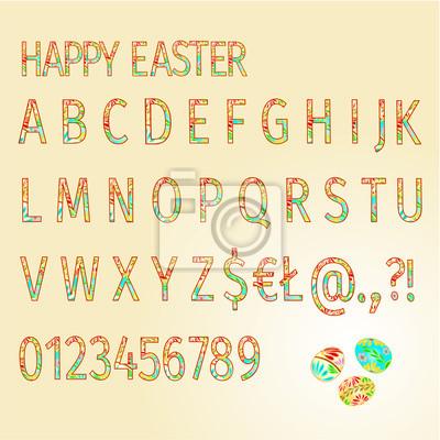Alphabet von Ostereiern Fröhliche Ostern Vektor