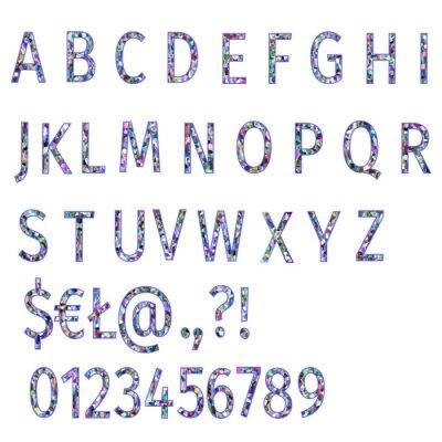 Alphabet von Polygonen bunte Mosaik Schriftart und Zahlen Vektor-Illustration bearbeitbare Hand zeichnen