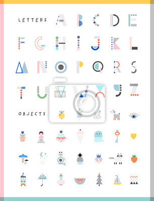 ALPHABET2Cute modern and creative alphabet. Letters and words. Learn to read. Isolated.