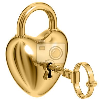 Fototapete Als Herz mit einem goldenen Schlüssel gebildet sperren.