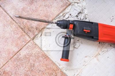 Alte Fliesen Entfernen Jackhammer Bohrhammer Auf Dem Boden