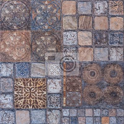 Alte Fliesen Mosaik Im Orientalischen Stil Fototapete Fototapeten