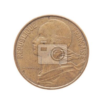 Fototapete Alte Französische Währung Münzen Der Welt Lokalisiert Auf Weißem