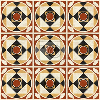 Alte Geometrische Mosaik Boden Muster Abstrakte Marmor Fliesen