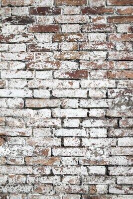 Fototapete Alte große rote Backsteinmauer Hintergrund mit weißen Farbe beunruhigt