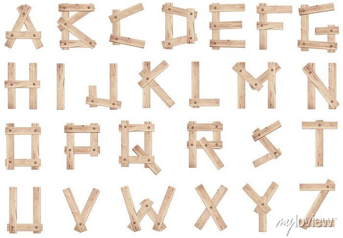 Fototapete Alte Holzbuchstaben Holzbrettern