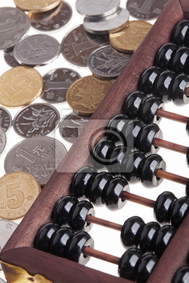 Alte Hölzerne Chinesische Abakus Und Chinesische Münzen Fototapete