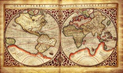 Fototapete Alte Karte der Welt, gedruckt im Jahre 1587