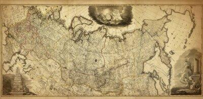 Fototapete Alte Karte von Russland, gedruckt im Jahre 1786