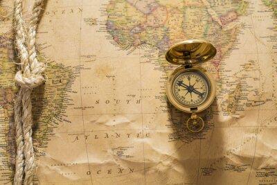 Fototapete Alte Kompass und Seil auf Vintage-Karte