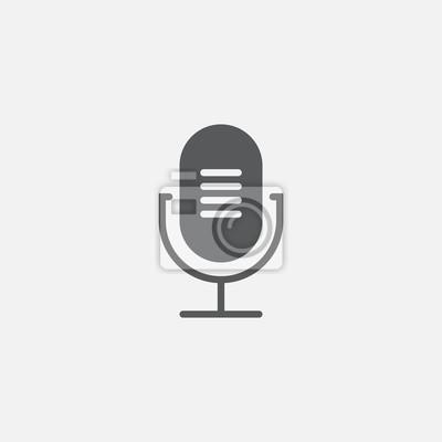 Alte mikrofon symbol vektor, feste logo-illustration, piktogramm ...
