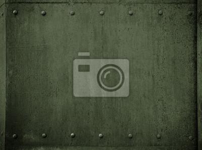 Fototapete Alte militärische Metall grüne Rüstung Hintergrund mit Nieten