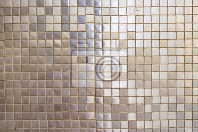 Alte Mosaik Fliesen Silber Grau Hintergrund Textur Fototapete - Alte mosaik fliesen