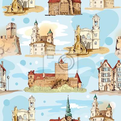 Alte Stadt Skizze nahtlose Muster