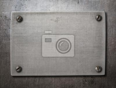Fototapete Alte Stahlplatte mit Schrauben auf Metall Hintergrund