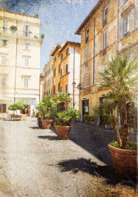 Fototapete alte Straße in Rom. Italien. Bild in künstlerischen Retro-Stil.