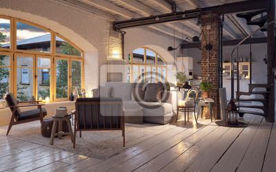Alte vintage luxus-loft-wohnung in der innenstadt in kerzenlicht ...