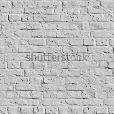 Fototapete Alte weiße Backsteinmauer. Nahtlose Tileable-Beschaffenheit.