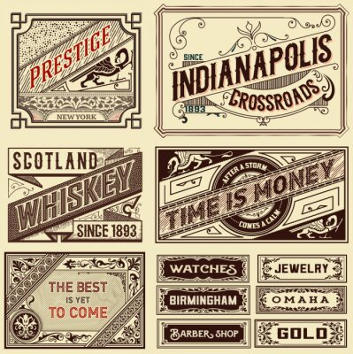 Fototapete Alte Werbung Designs - Vintage Illustration