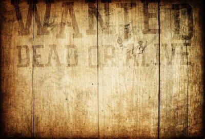 Alte westliche wollte Zeichen auf hölzerne Mauer.