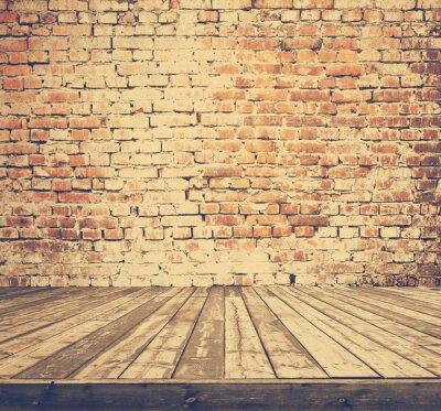 Fototapete Alte Zimmer mit Backsteinmauer, retro gefiltert, Instagram-Stil