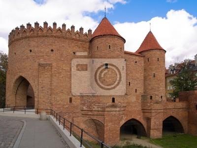 Fototapete alten Backstein-Festung Barbakan in Warschau, Polen