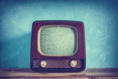 Fototapete Alter Weinlese Fernsehapparat mit hölzernem Fall