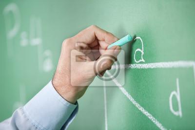 Ältere Lehrerhandschrift Alphabet auf Green